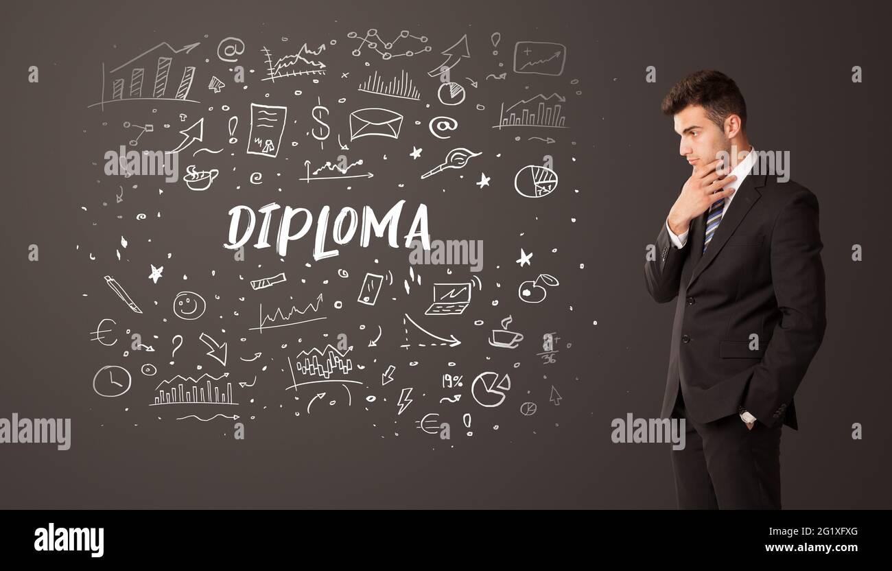 Homme d'affaires pensant avec inscription éducative Banque D'Images