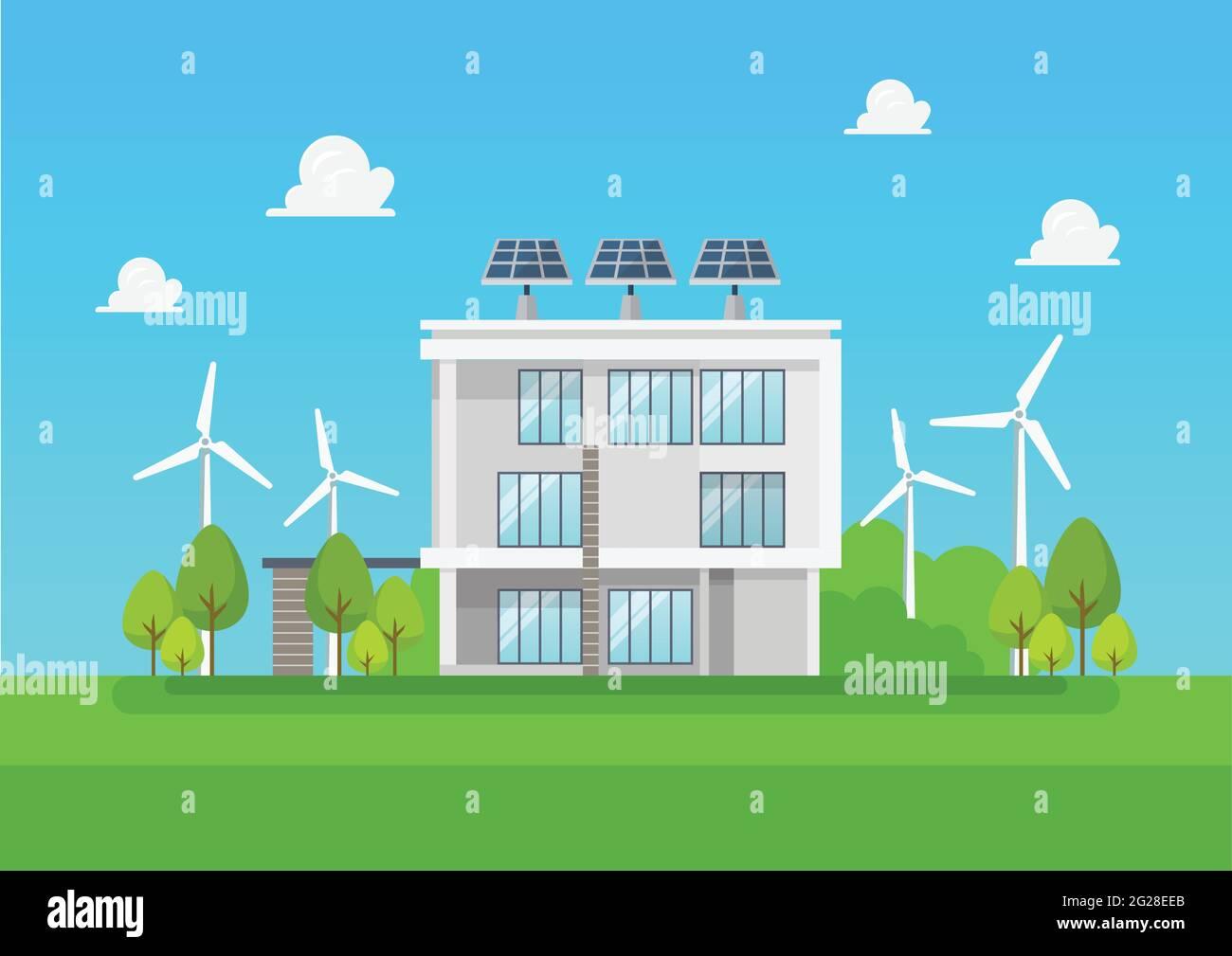Maison moderne et écologique. Énergie verte énergie solaire et éolienne. Illustration vectorielle Illustration de Vecteur
