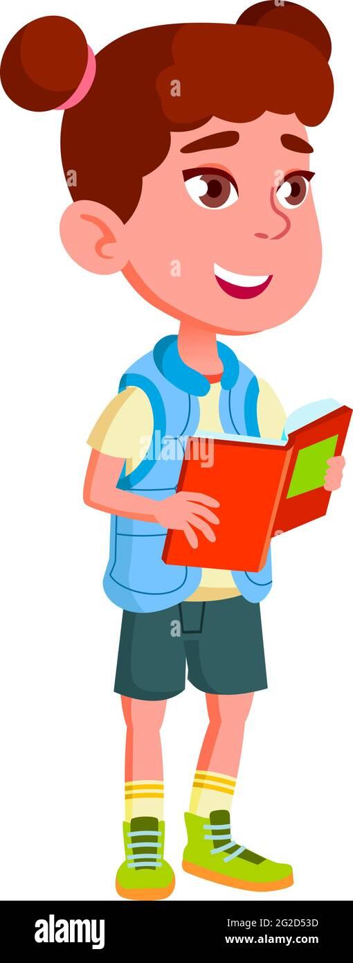 joyeux jeune enfant en récitant des poèmes dans le vecteur de dessin animé de classe Illustration de Vecteur