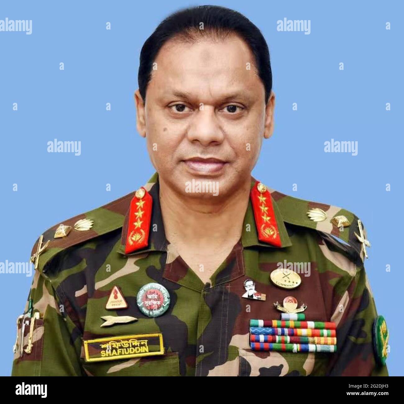 (210610) -- DHAKA, 10 juin 2021 (Xinhua) -- la photo du fichier non daté montre le Lieutenant général SM Shafiuddin Ahmed. Le Lieutenant général SM Shafiuddin Ahmed remplacera le Chef d'état-major sortant du général d'armée du Bangladesh Aziz Ahmed. Le lieutenant-colonel Abdullah Ibne Jayed, directeur du département des relations publiques interservices (ISPR) du ministère de la Défense du Bangladesh, a confirmé jeudi à Xinhua qu'Ahmed prendra la tête de l'armée du Bangladesh dans un transfert officiel le 24 juin, lorsque le général Aziz prendra officiellement sa retraite. (ISPR/document via Xinhua) Banque D'Images