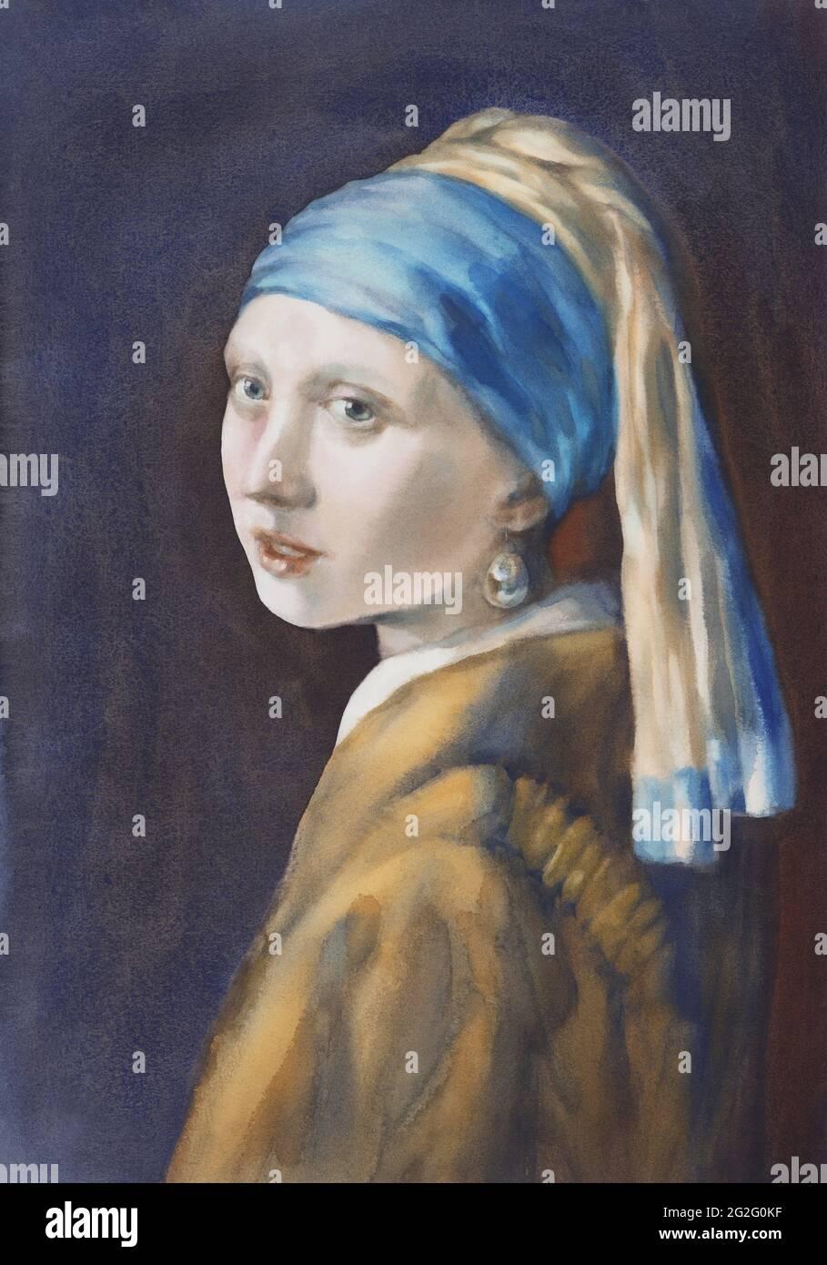 Une fille avec une perle boucle d'oreille aquarelle copie Banque D'Images