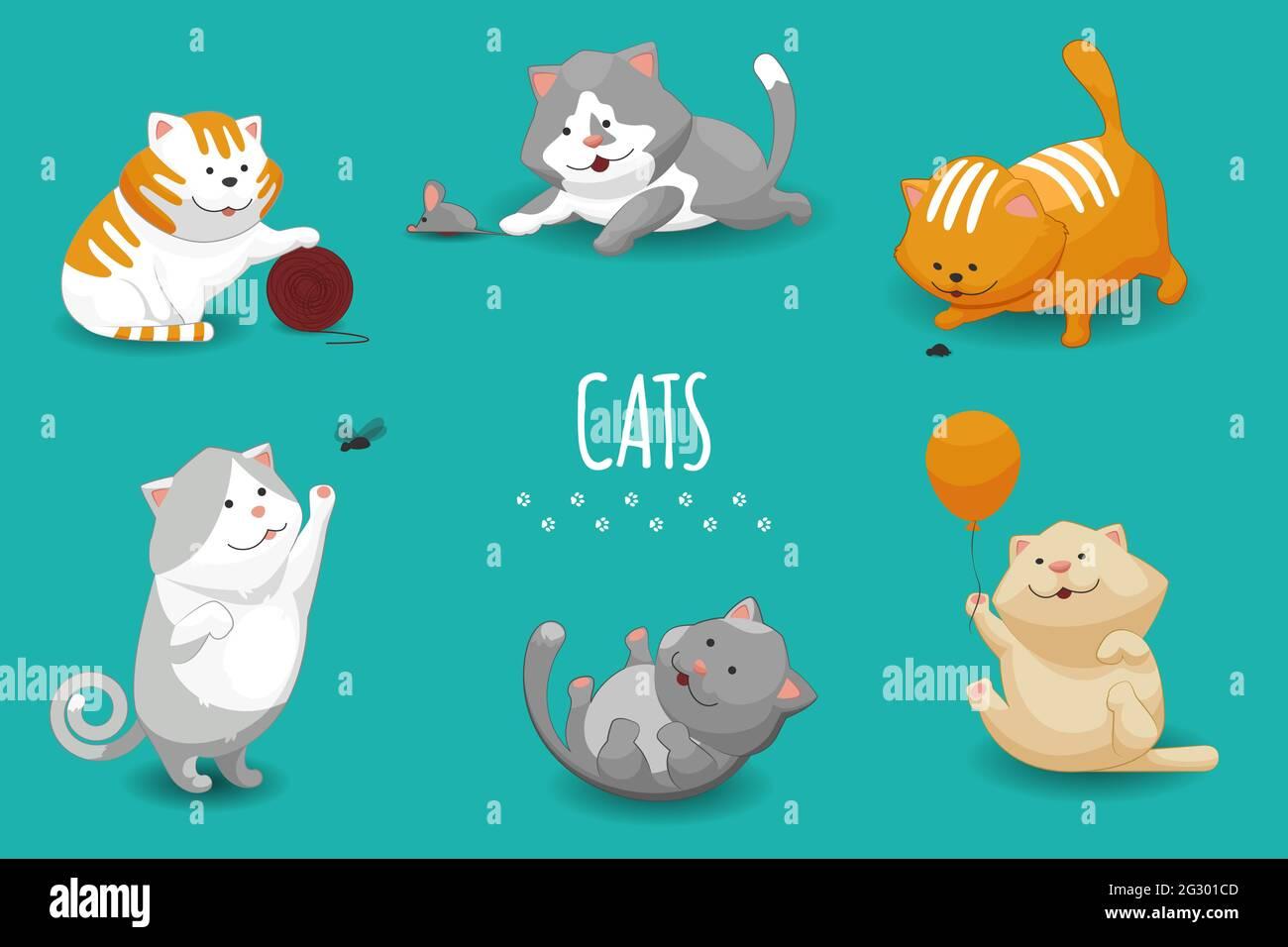 Illustration vectorielle mignon chatons. Ensemble de chats et chats domestiques jouant Illustration de Vecteur