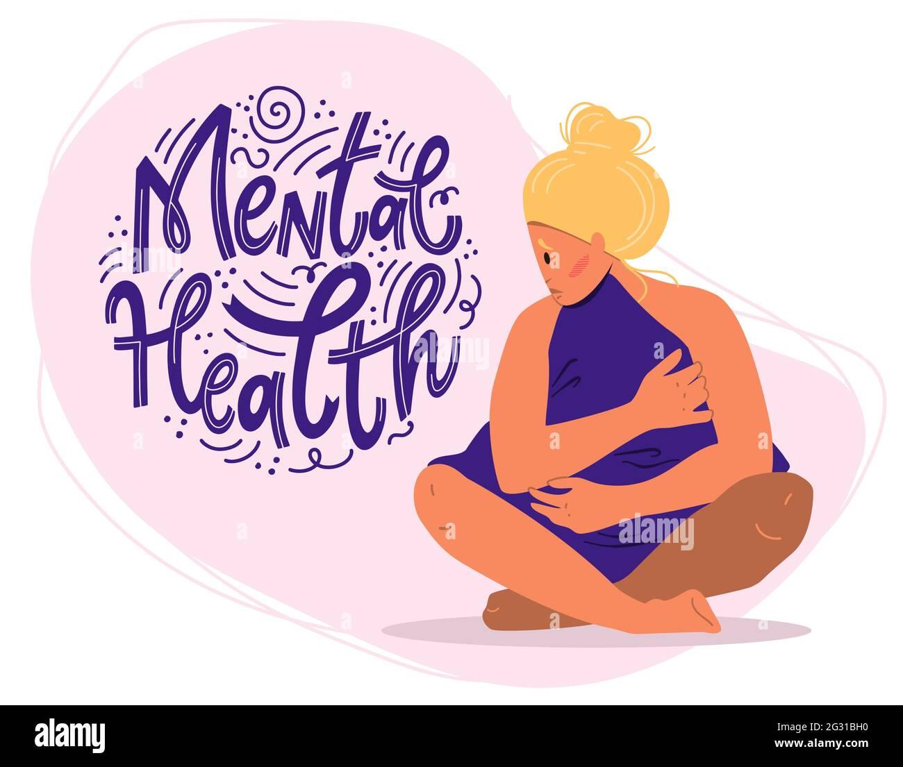 Concept de santé mentale. Triste femme avec la dépression assis sur le sol. Illustration vectorielle colorée de style dessin animé plat. Illustration de Vecteur