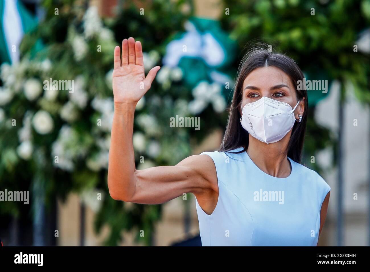 Séville, Espagne. 14 juin 2021. **NO ESPAGNE** Reine Letizia d'Espagne à la remise de la médaille d'honneur andalouse au palais San Telmo de Séville, Espagne, le 14 juin 2021. Crédit : Jimmy Olsen/Media Punch/Alay Live News Banque D'Images