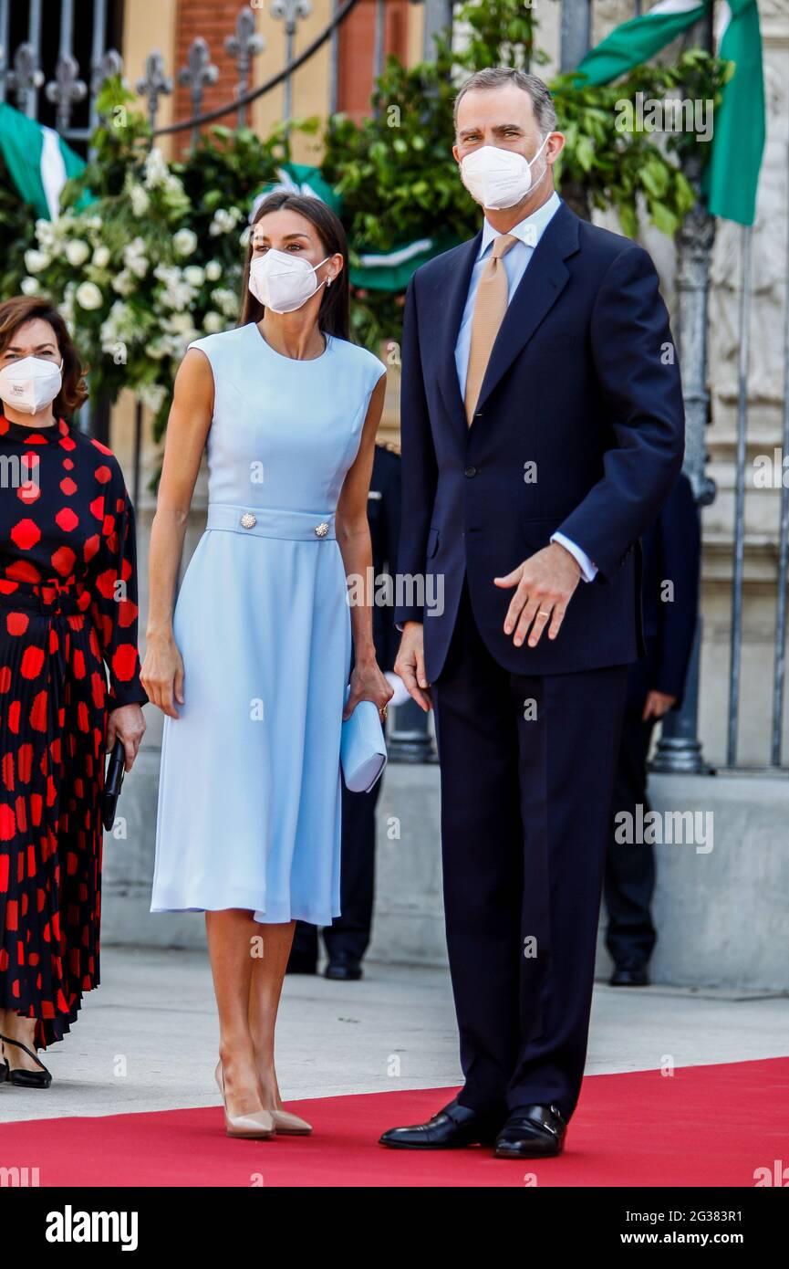 Séville, Espagne. 14 juin 2021. **NO ESPAGNE** la reine Letizia et le roi Felipe assistent à la remise de la médaille d'honneur andalouse au palais San Telmo de Séville, Espagne, le 14 juin 2021. Crédit : Jimmy Olsen/Media Punch/Alay Live News Banque D'Images