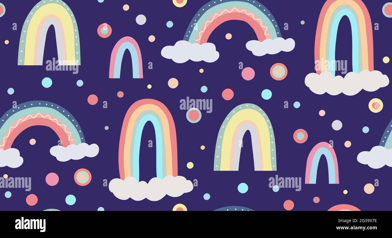 Joli motif puéril du ciel. Motif sans couture avec différents arcs-en-ciel, nuages et points. Papier peint vectoriel dans des couleurs pastel douces sur fond noir Illustration de Vecteur