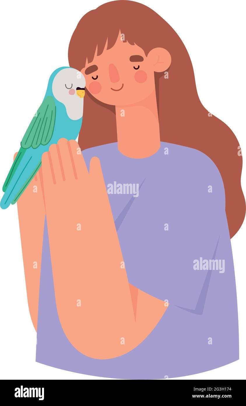 femme et parakeet Illustration de Vecteur