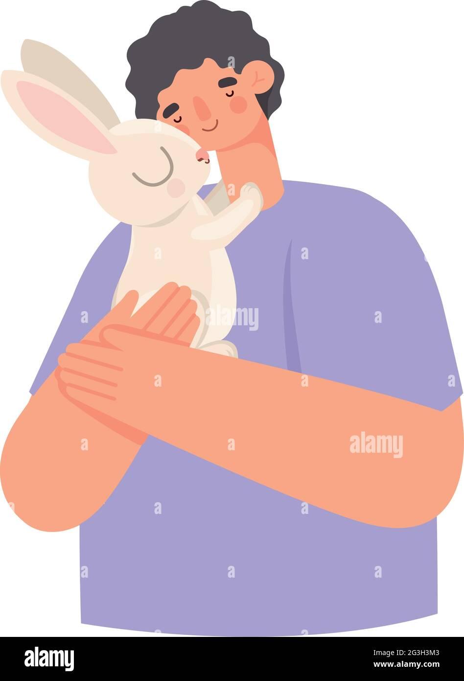 homme et lapin Illustration de Vecteur