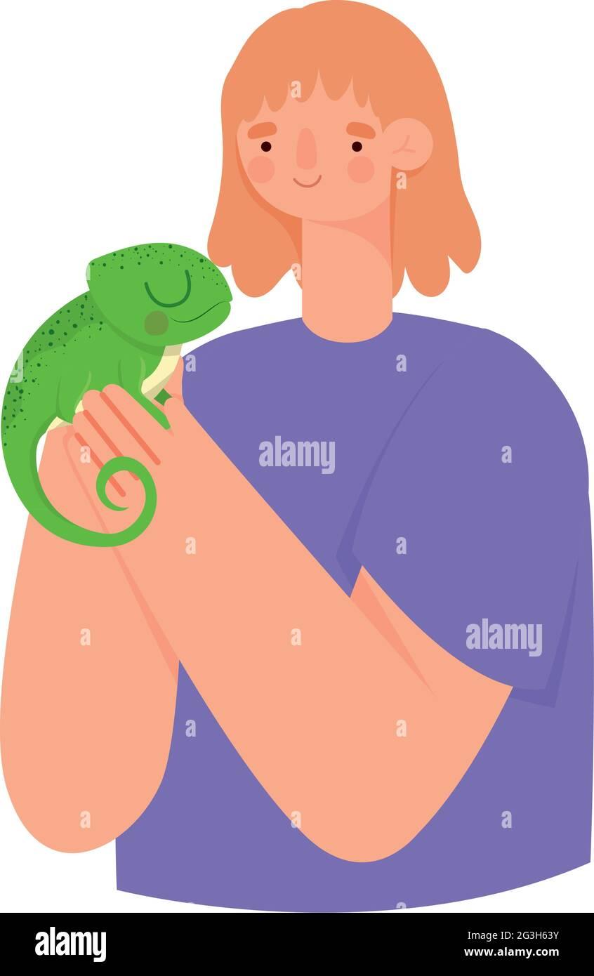 femme et iguana Illustration de Vecteur