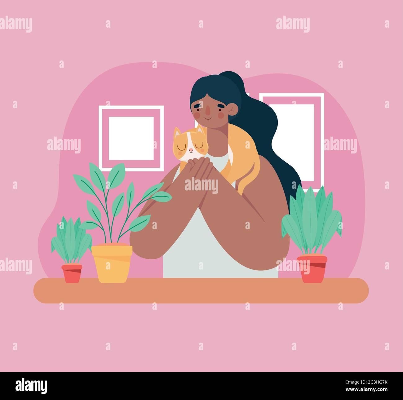Woman holding cat Illustration de Vecteur