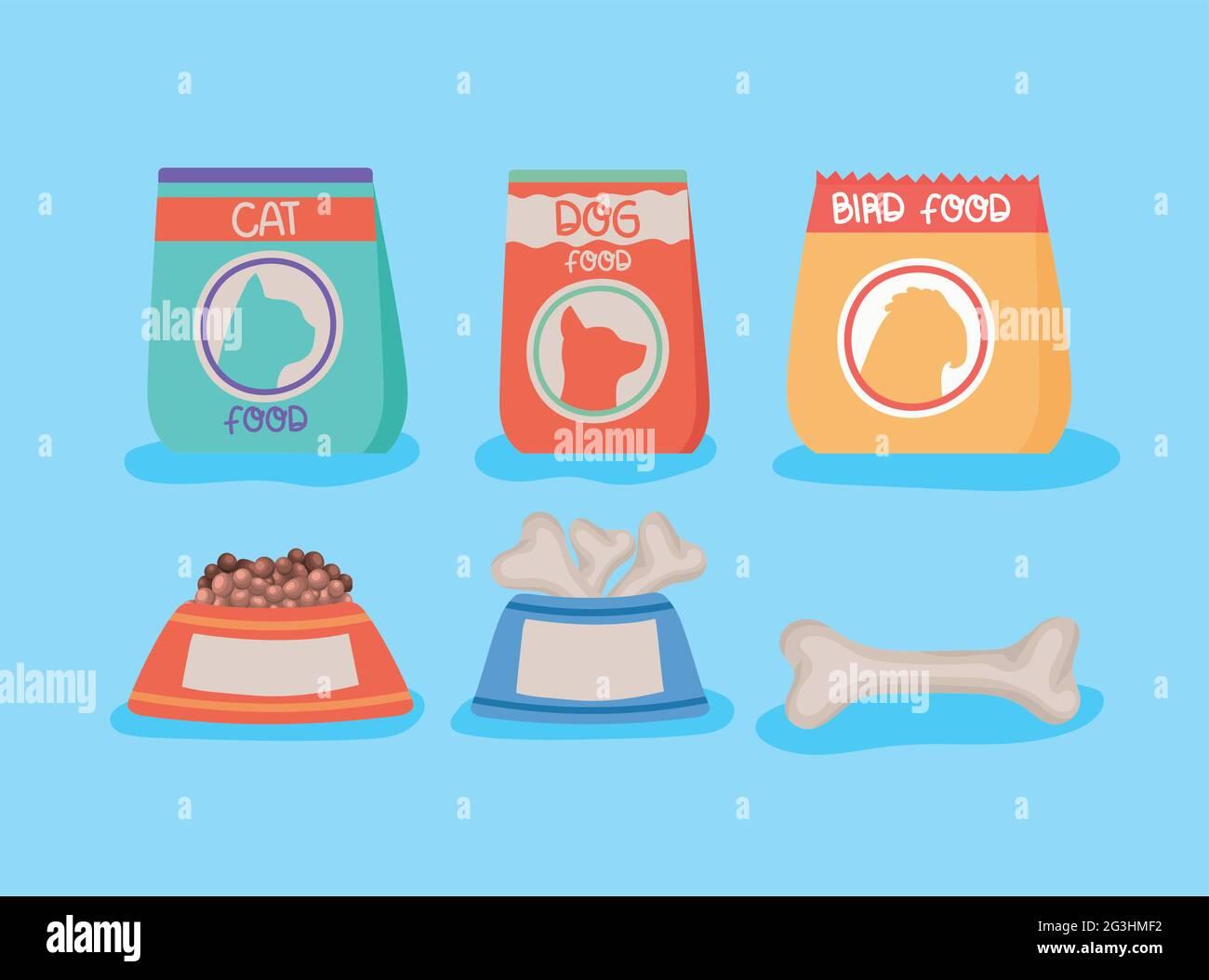 emballage alimentaire pour animaux de compagnie Illustration de Vecteur