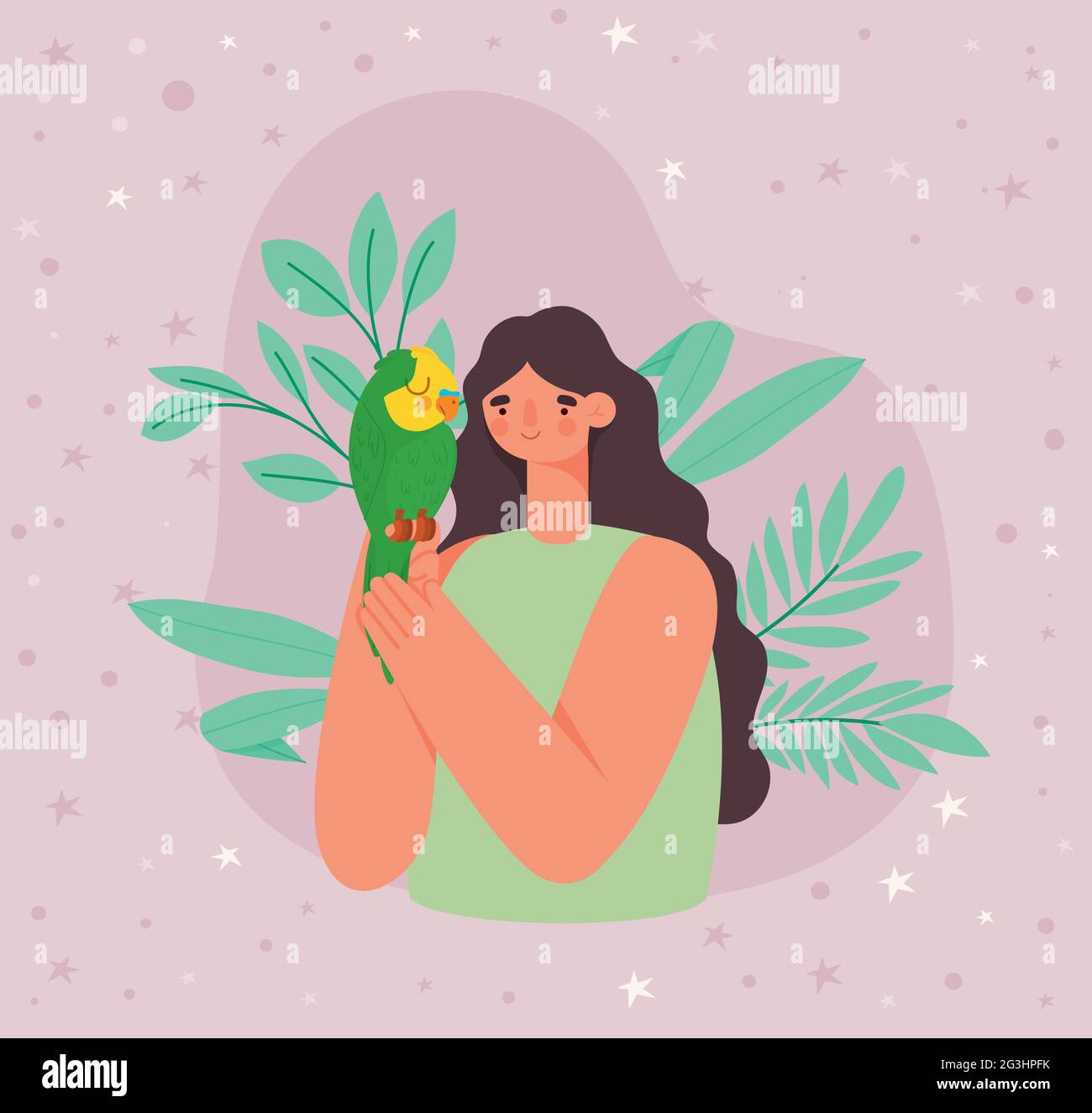femme tenant perroquet vert Illustration de Vecteur