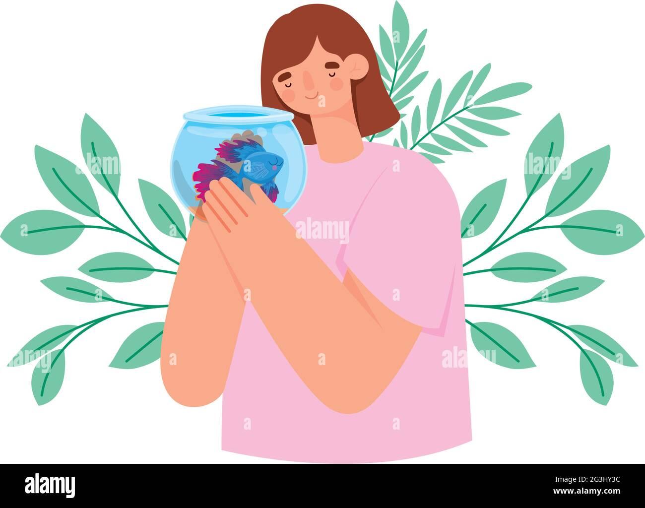 femme avec des poissons Illustration de Vecteur