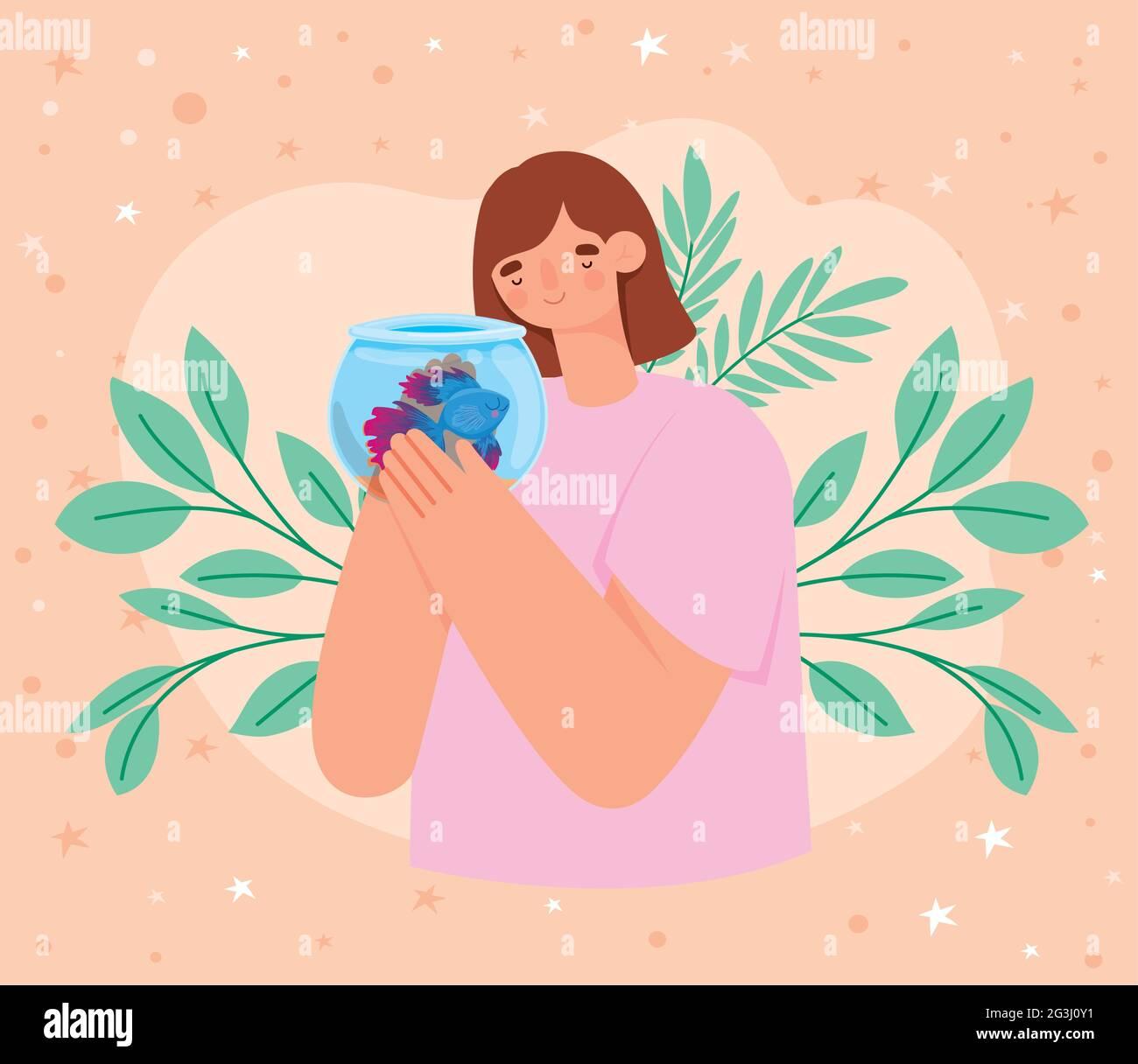 femme tenant un bol à poisson Illustration de Vecteur