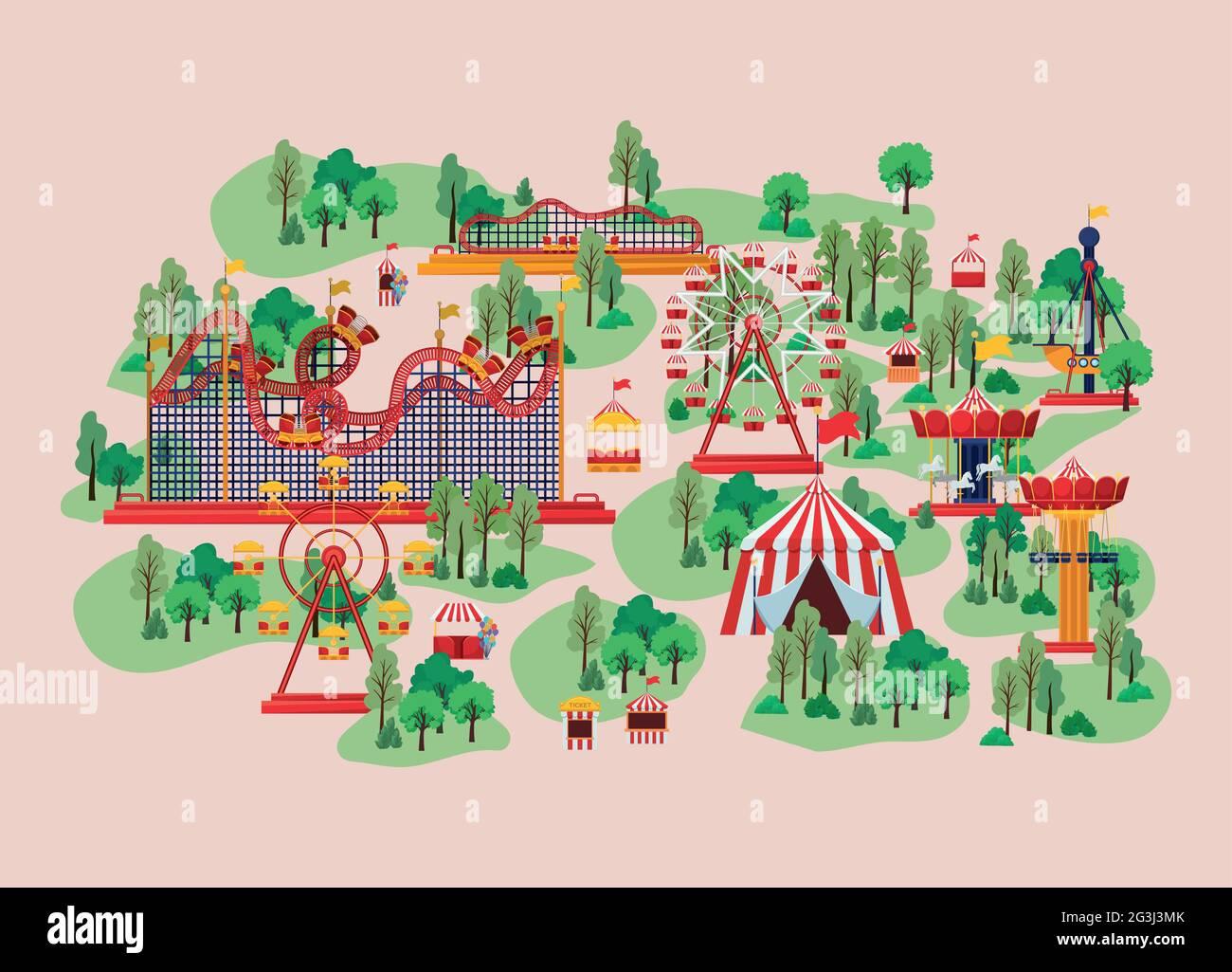 terrain de jeu avec attractions Illustration de Vecteur