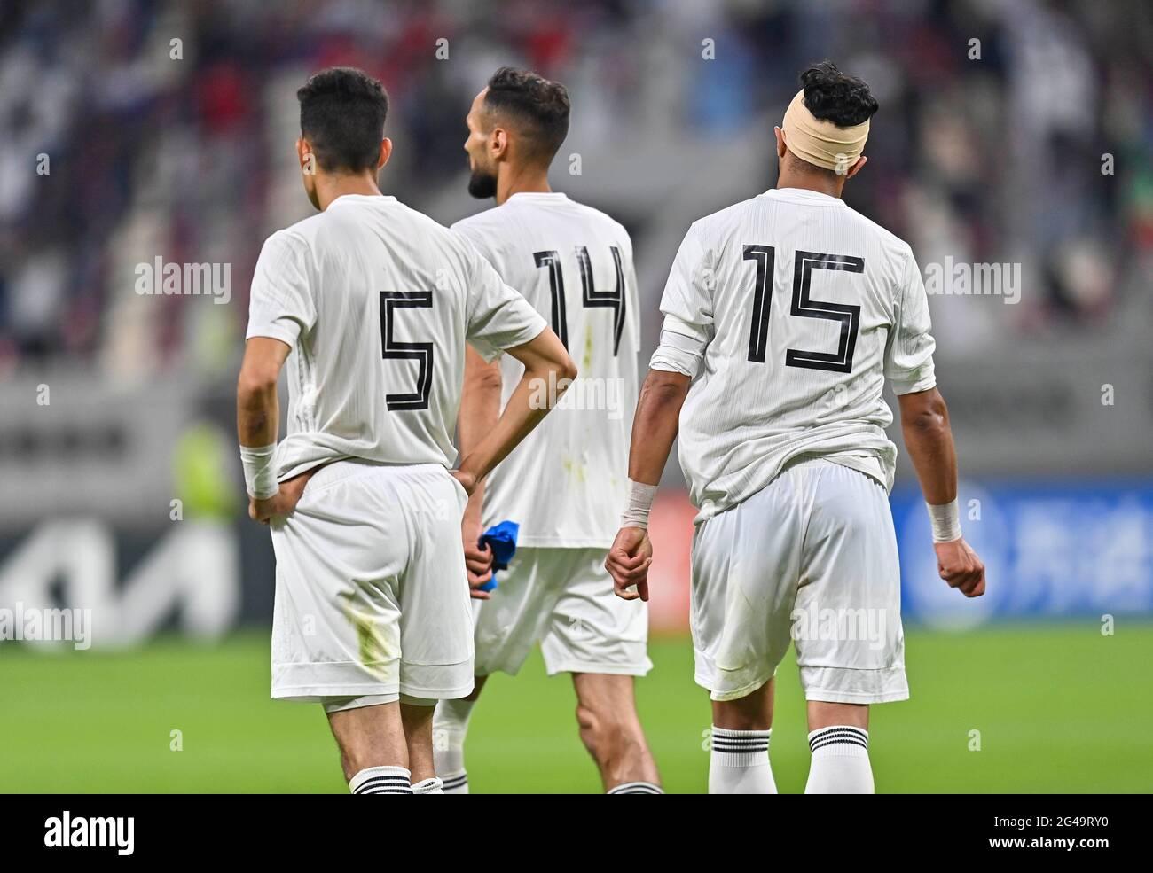 Doha, Qatar. 19 juin 2021. Les joueurs de Libye réagissent après le match de qualification de la coupe arabe de la FIFA au Qatar 2021 à Doha, au Qatar, le 19 juin 2021. Credit: Nikku /Xinhua/Alay Live News Banque D'Images