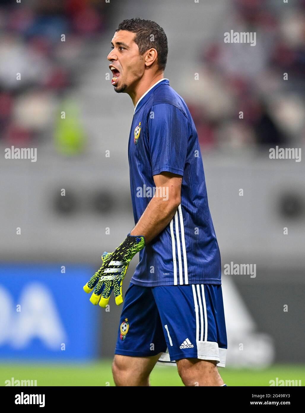 Doha, Qatar. 19 juin 2021. Le gardien de but libyen Mohamed Nashnush réagit lors de la coupe arabe de la FIFA, match de qualification du Qatar 2021 à Doha, Qatar, le 19 juin 2021. Credit: Nikku /Xinhua/Alay Live News Banque D'Images