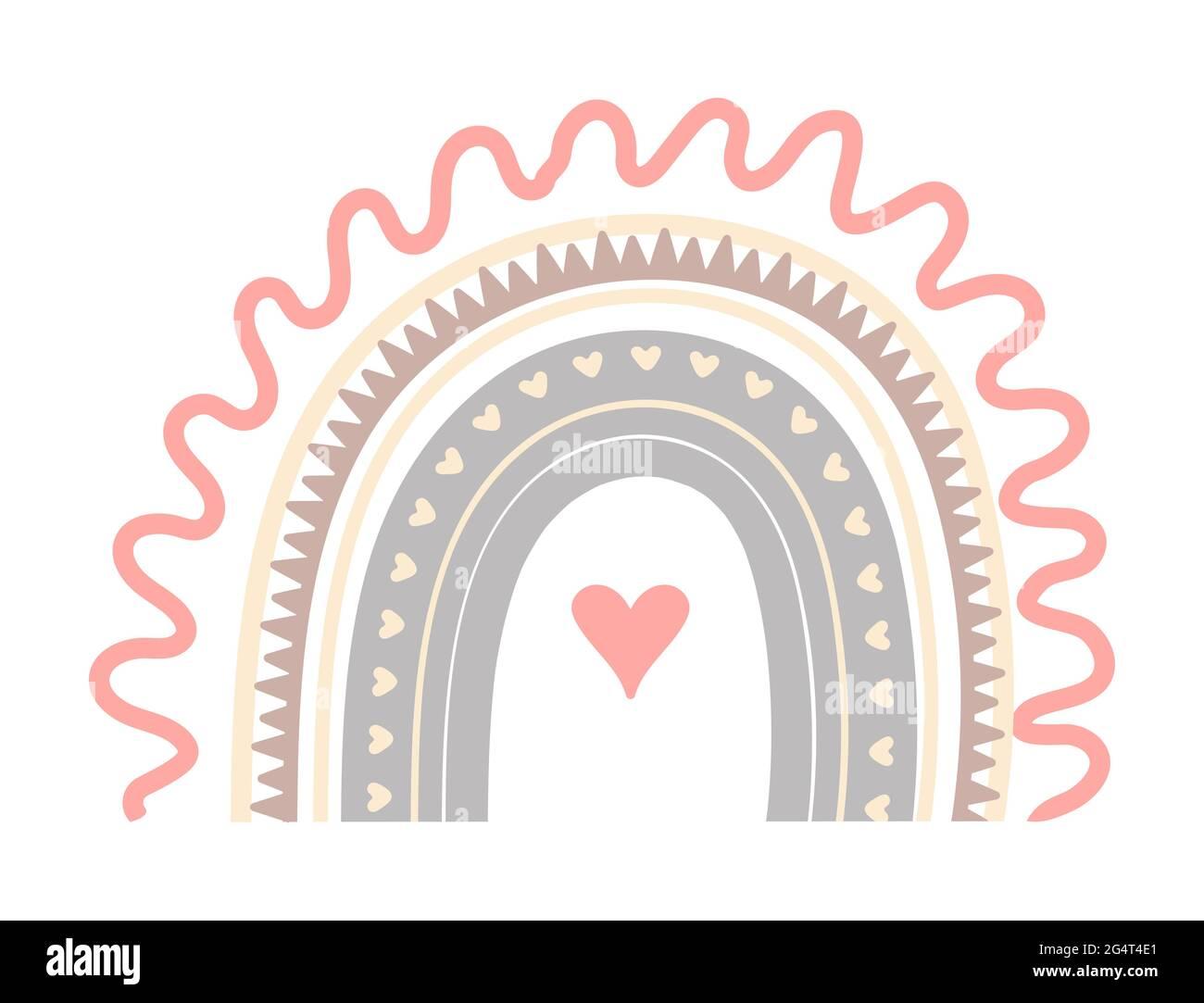 Boho joli vecteur arc-en-ciel dans des couleurs pastel. Bébé abrAct arc-en-ciel avec des gouttes, coeur, étoiles, nuage isolé sur fond blanc. Affiche imprimable illust Illustration de Vecteur
