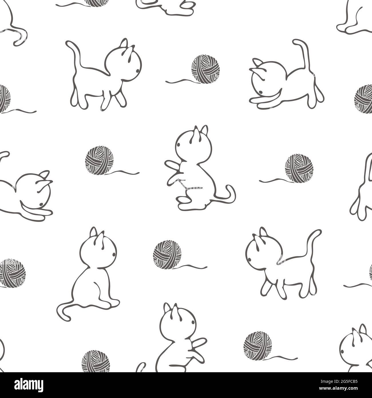 Motif vectoriel transparent avec chats sur fond blanc. Papier peint à motif animal style art. Joli tissu de mode chaton. Illustration de Vecteur