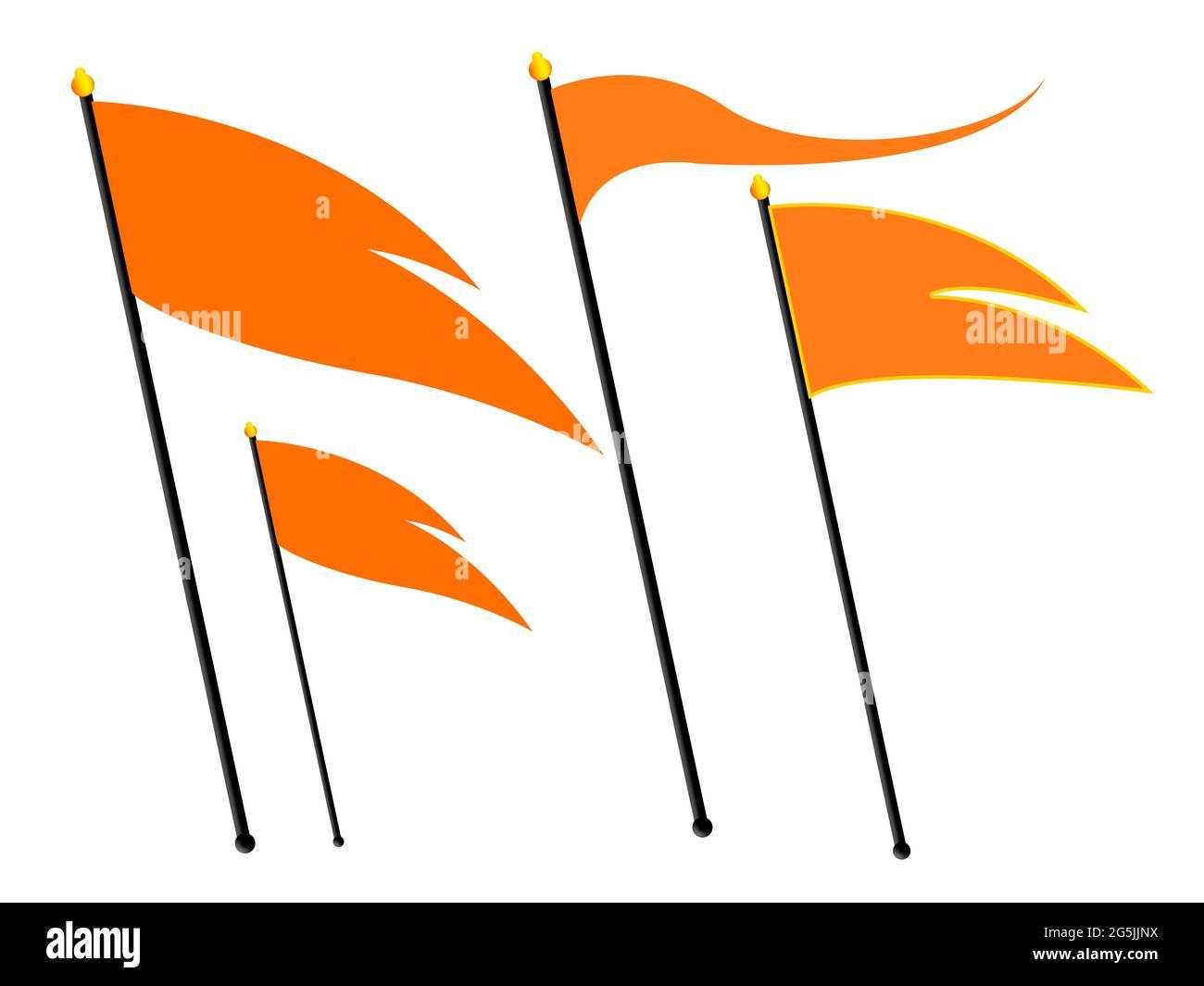 Drapeau hindou. Drapeau triangulaire hindou couleur safran. Indicateur RSS. Banque D'Images