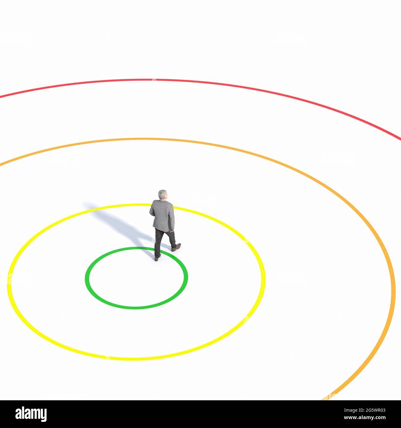 homme d'affaires sort de sa zone de confort. image et modèles de rendu 3d. Banque D'Images