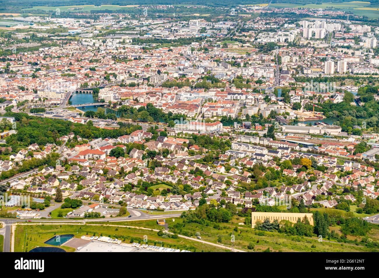 France, Seine et Marne, Meaux (vue aérienne) Banque D'Images