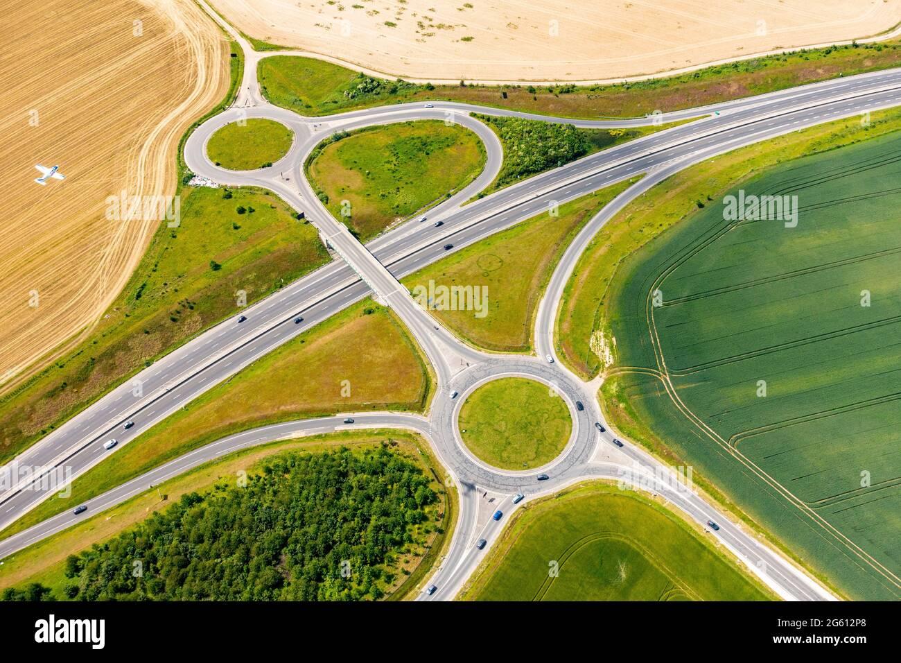 France, Seine et Marne, Meaux, un rond-point (vue aérienne) Banque D'Images