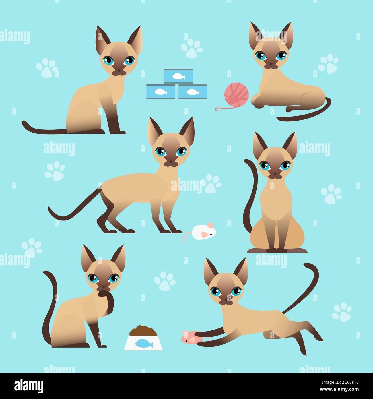 Ensemble d'illustrations vectorielles de chat mignon dans différentes poses. Manger, dormir, s'asseoir et jouer chaton dans un style de dessin animé plat. Illustration de Vecteur
