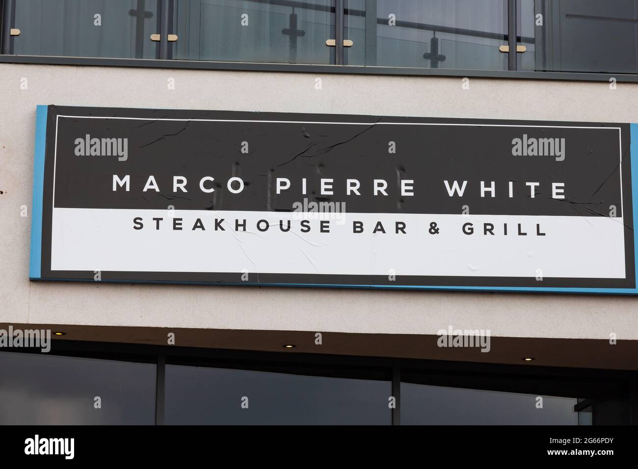 Panneau Marco Pierre White Steakhouse Bar & Grill. Brayford Pool, Lincoln, Lincolnshire, Angleterre Banque D'Images
