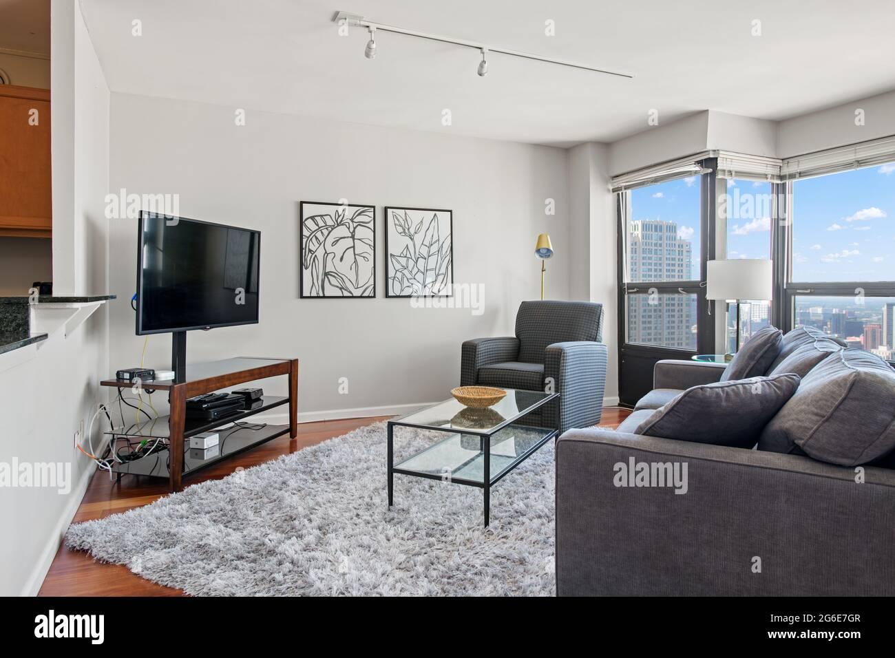- Un salon intérieur résidentiel Banque D'Images