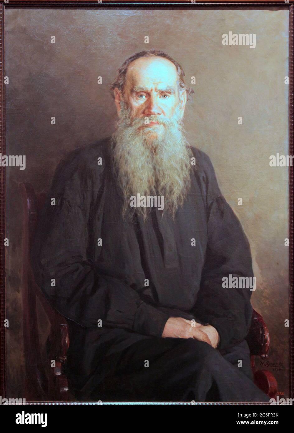 Portrait de Léon Tolstoï 1894 par l'artiste Nikolai Alexandrovitch Yarochenko (Николай Александрович Ярошенко; Микола Олександрович Ярошенко; 1846 – 1898) peintre impérial russe d'origine ukrainienne. Tolstoï;l'écrivain russe a considéré l'un des plus grands auteurs de tous les temps. Banque D'Images