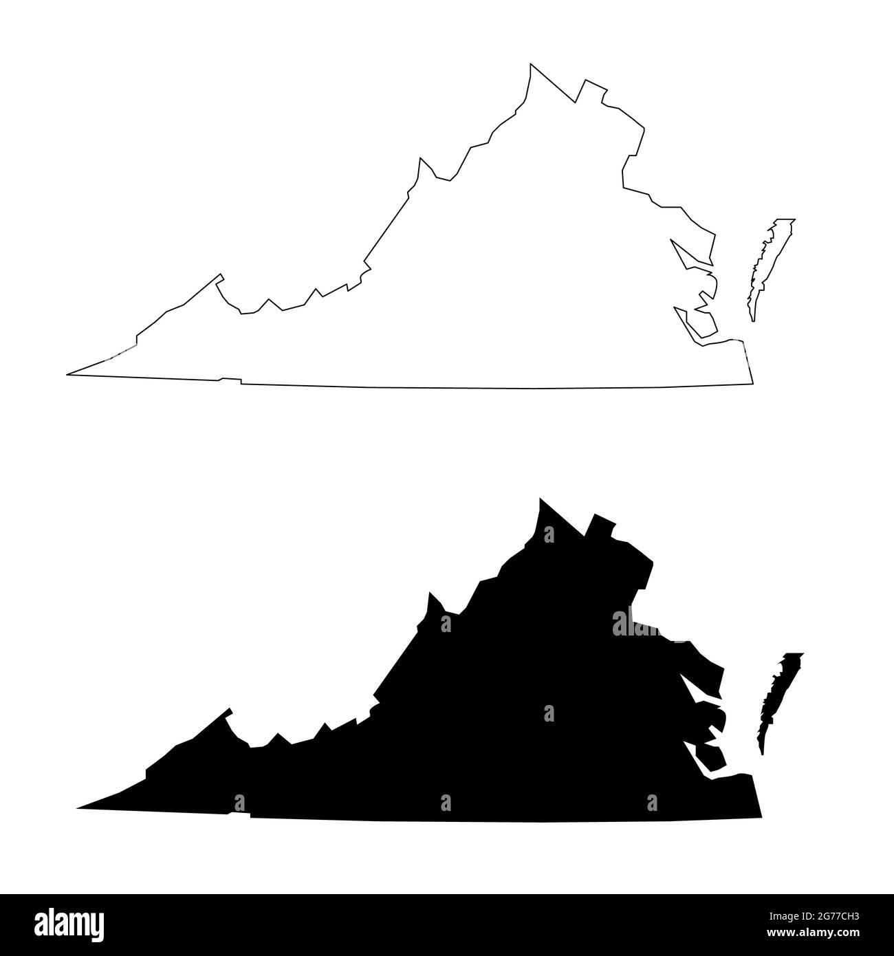 Icône de carte de Virginie sur fond blanc. Panneau de l'État de Virginie. Pays de l'État-Unis d'Amérique. style plat. Banque D'Images