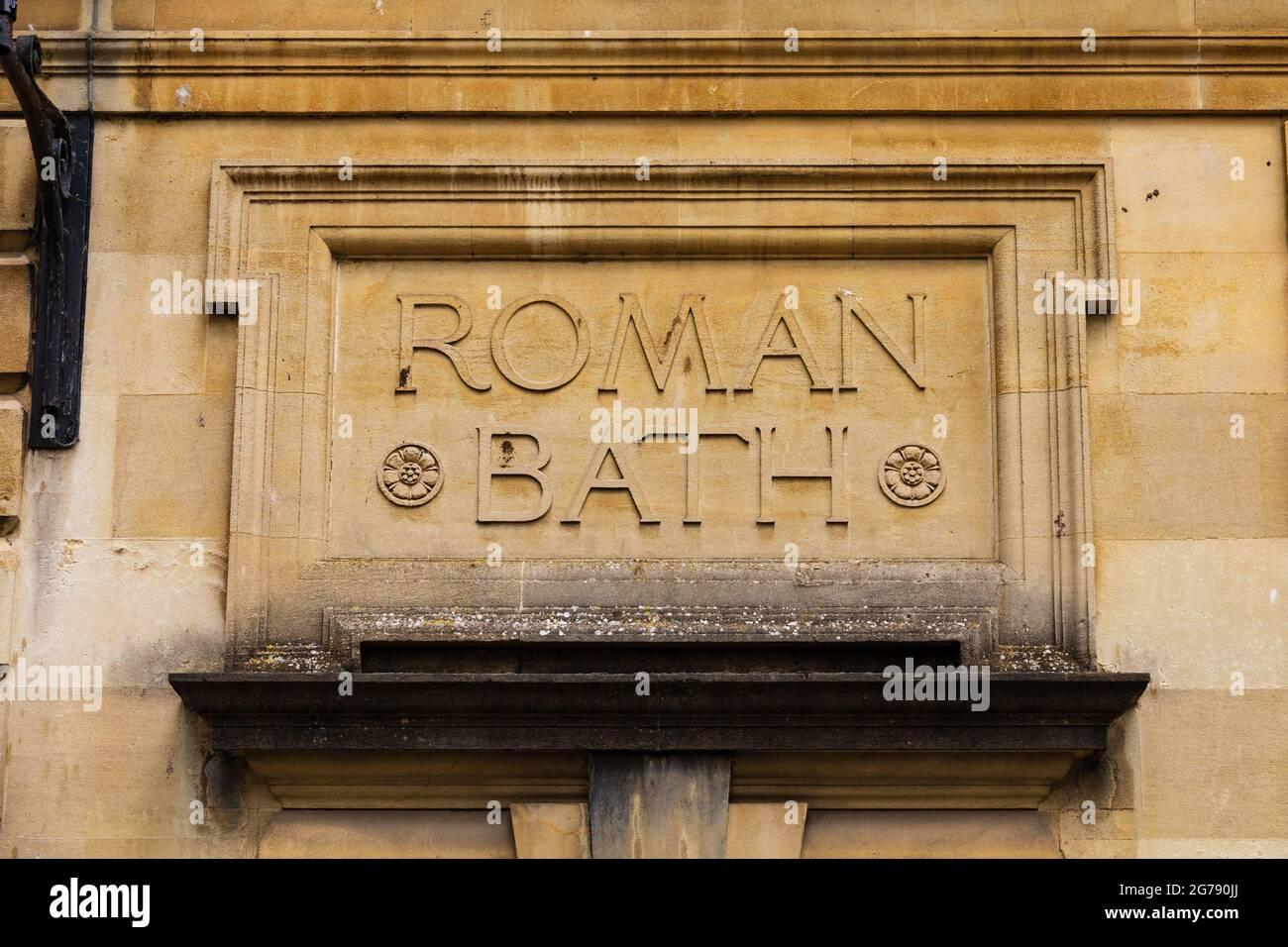 Thermes romains à la ville romaine de Bath, Somerset, Angleterre Banque D'Images