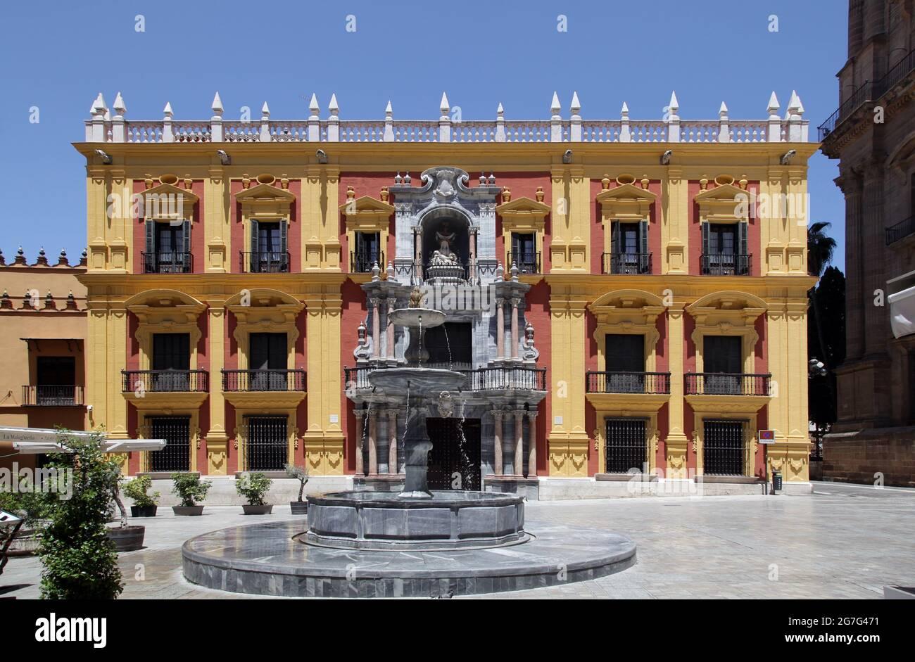 Palais de l'évêque / Palacio del Obispo / Palais de l'évêque à partir de 1762 sur la Plaza del Obispo, importante place baroque à Málaga.Andalucía Espagne Banque D'Images