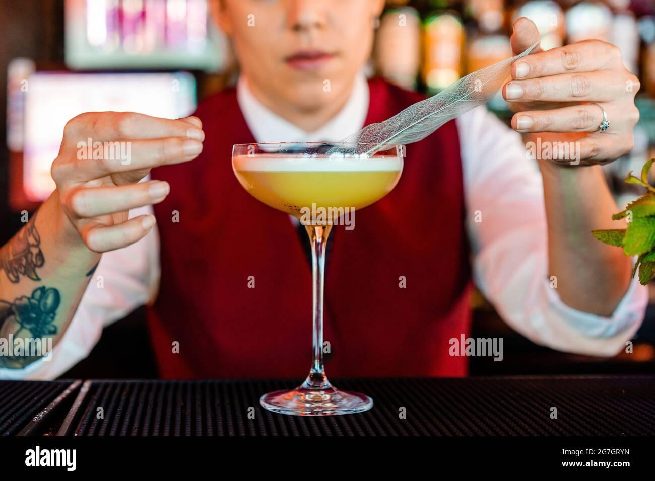 Anonyme professionnelle jeune femme barman décorant avec une plume tout en préparant le cocktail aigre au bar Banque D'Images