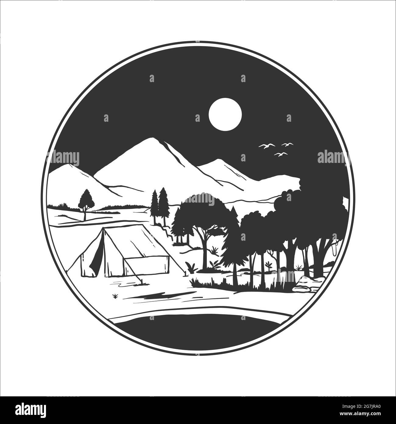 badge de camping silhouette. illustration vectorielle du camping dans les montagnes sauvages Illustration de Vecteur