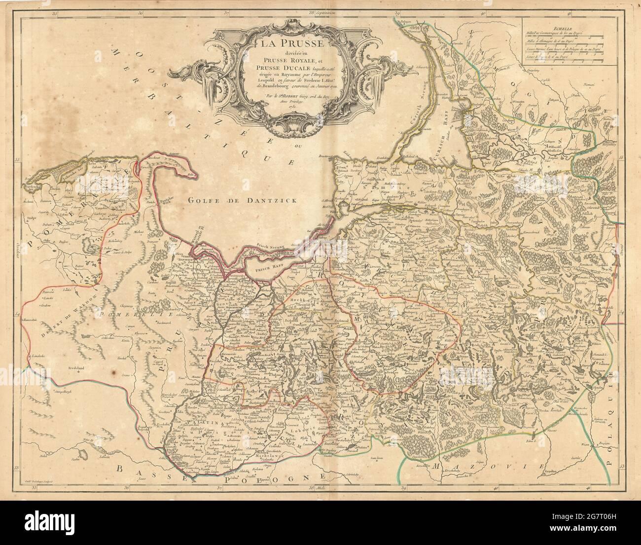 'La Prusse divisée en Prusse Royale et Prusse Ducale' Pologne CARTE DE VAUGONDY 1751 Banque D'Images