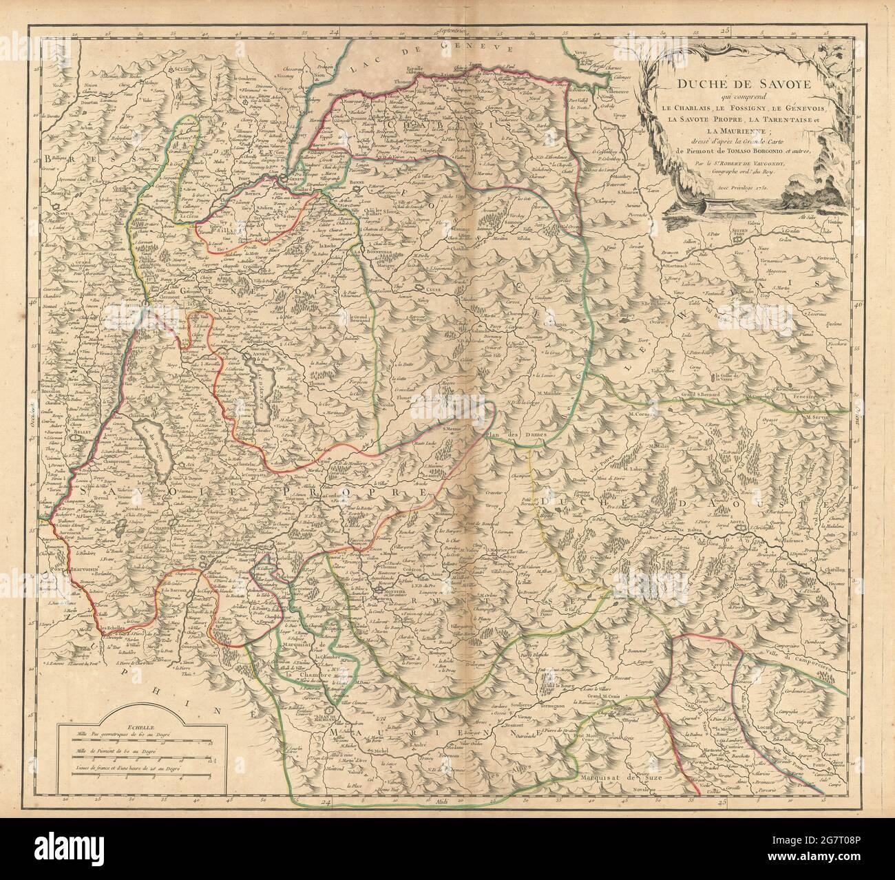 'Duché de Savoye...' Duché de Savoie. Aoste et Alpes françaises. VAUGONDY 1751 ancienne carte Banque D'Images