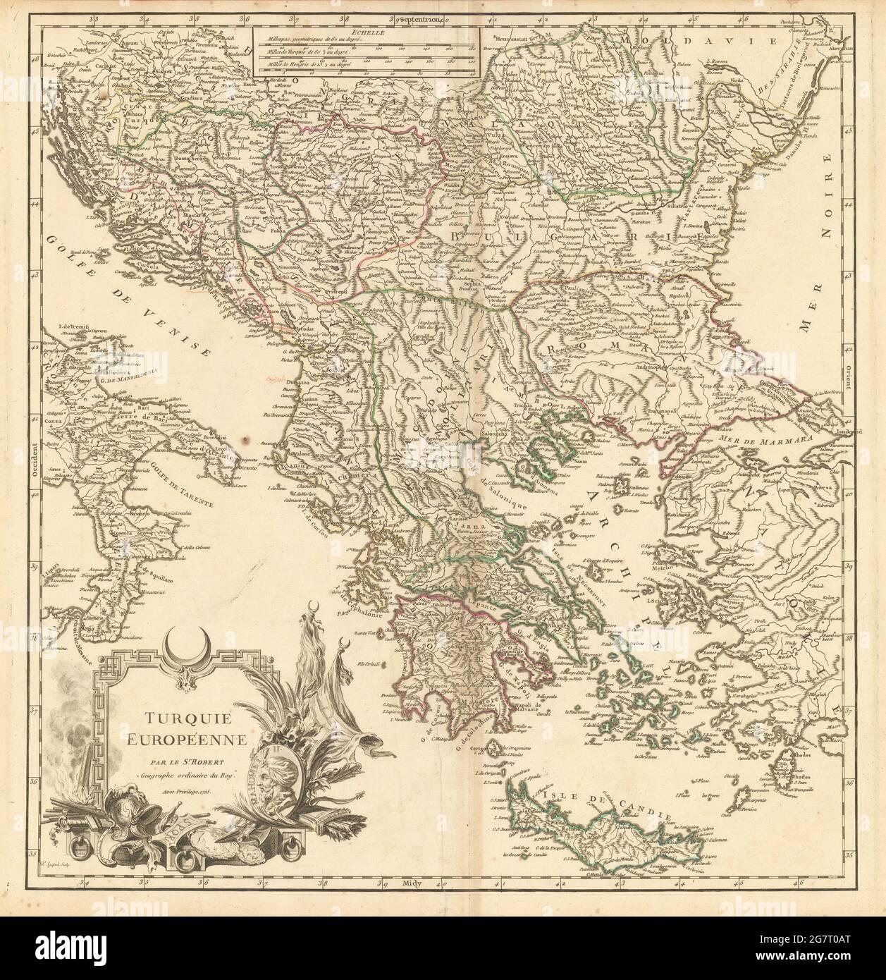 « Turquie européenne ». La Turquie en Europe. Balkans Grèce Egée. Carte DE VAUGONDY 1755 Banque D'Images