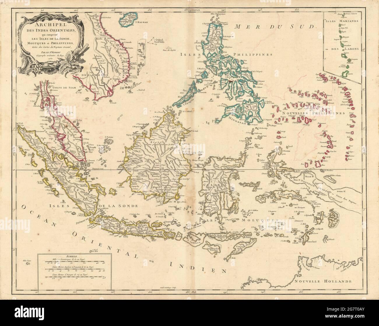 'Archipel des Indes Orientales' E Indies Indonésie Philippines carte DE VAUGONDY 1750 Banque D'Images
