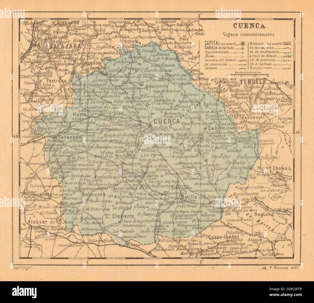 CUENCA. Castilla-la Manche. Mapa antiguo de la provincia 1914 ancien antique Banque D'Images