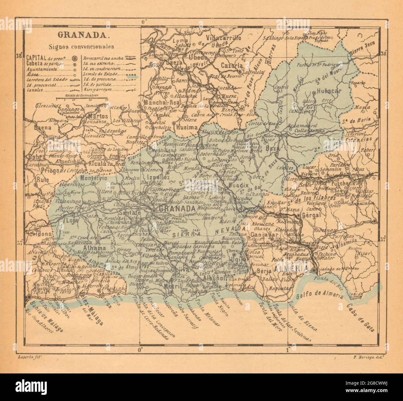 GRENADE. Andalousie. Mapa antiguo de la provincia 1914 carte ancienne Banque D'Images