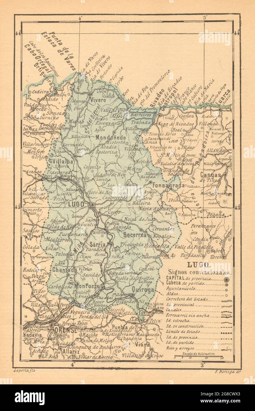 LUGO. Galice. Mapa antiguo de la provincia 1914 carte ancienne Banque D'Images