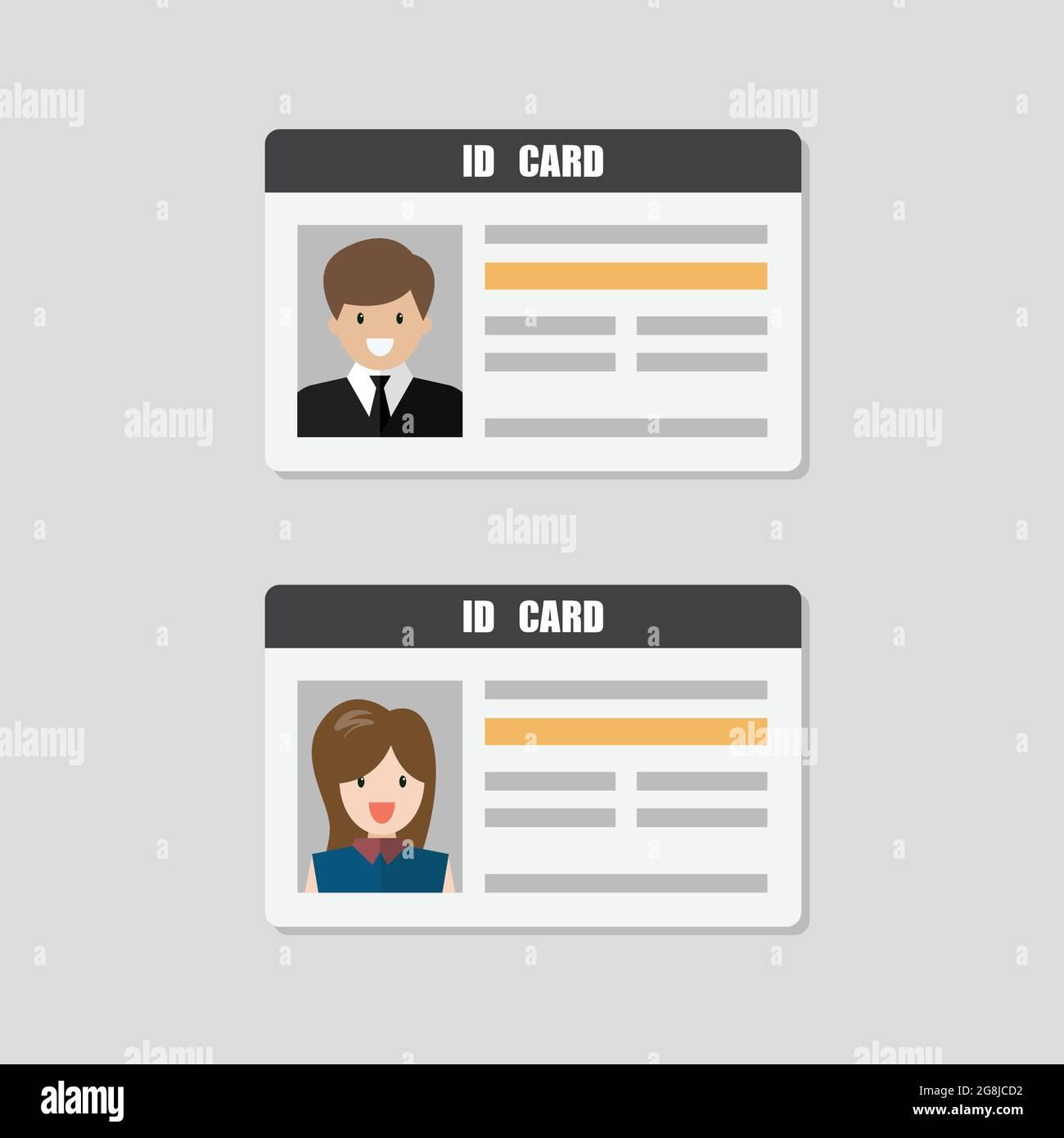 Cartes d'identité avec illustration vecteur photo mâle et femelle. Identité personnelle de style plat Illustration de Vecteur