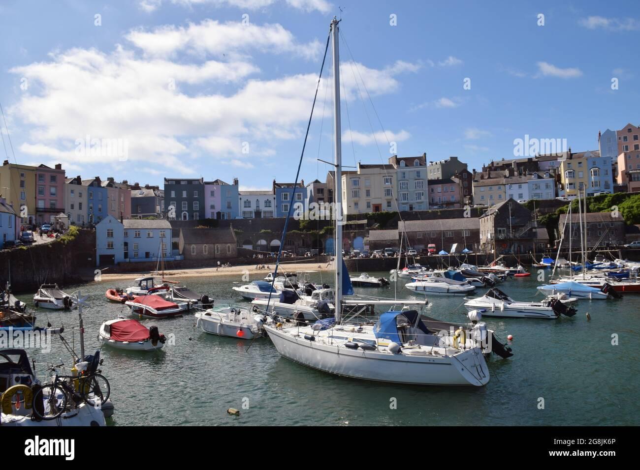 Port de Tenby, Pembrokeshire, pays de Galles du Sud juillet 2021 Banque D'Images