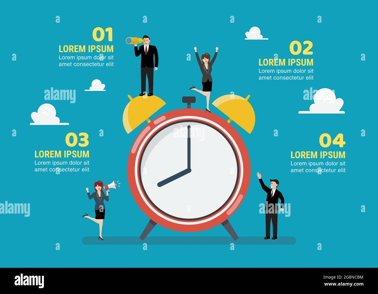 Infographie sur les petites entreprises avec réveil. Concept commercial d'illustration vectorielle Illustration de Vecteur