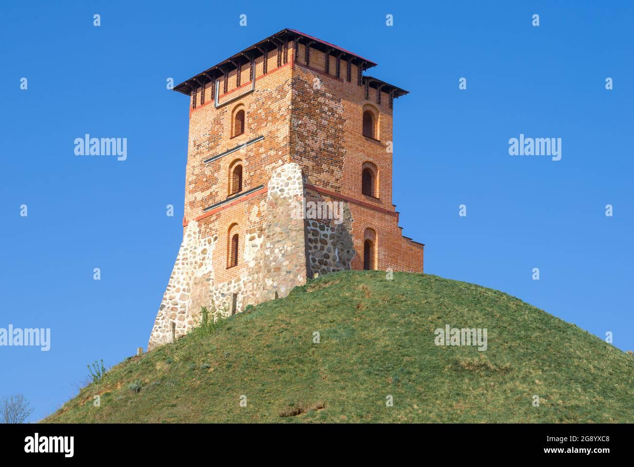 La tour restaurée de l'ancien château médiéval le jour ensoleillé d'avril. Novogrudok, Biélorussie Banque D'Images