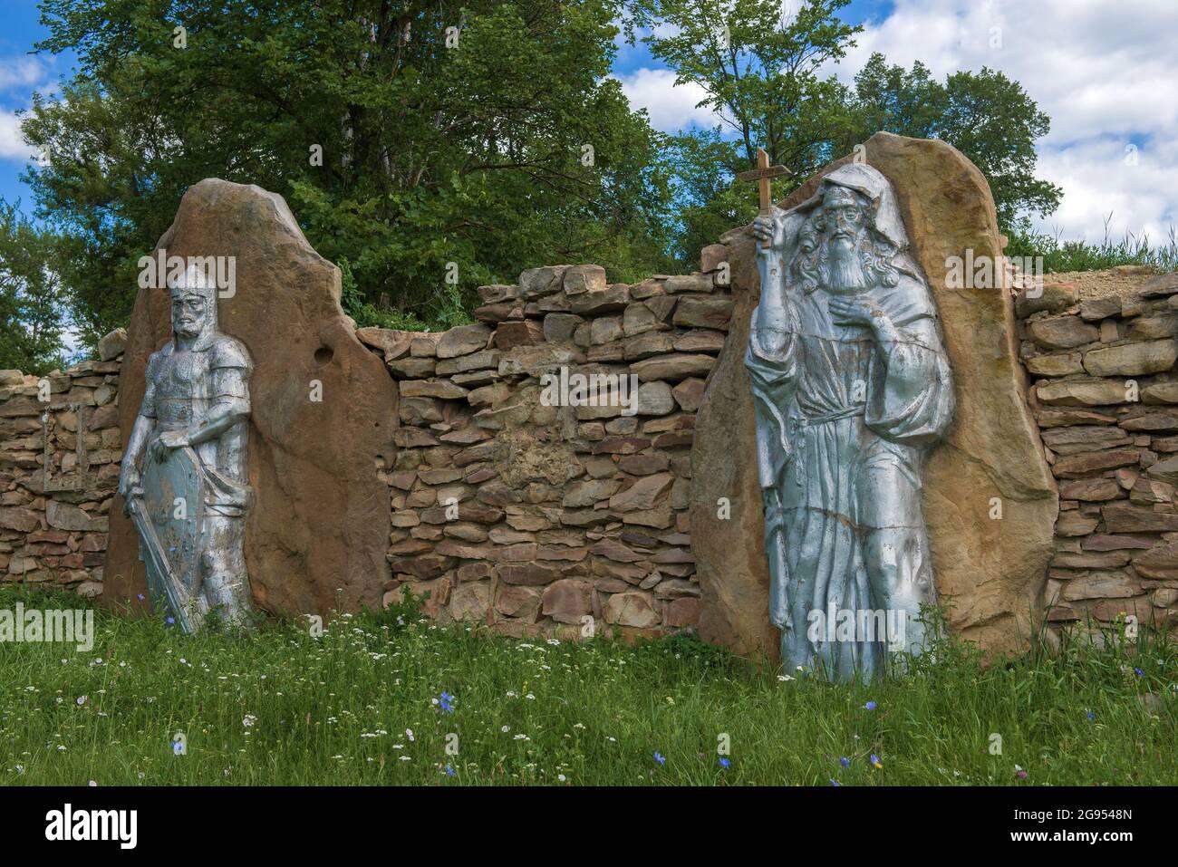 MTSENSK, RUSSIE - 06 JUILLET 2021 : ancien guerrier russe et saint Kuksha - un monument en l'honneur du 850ème anniversaire de la ville de Mtsensk Banque D'Images