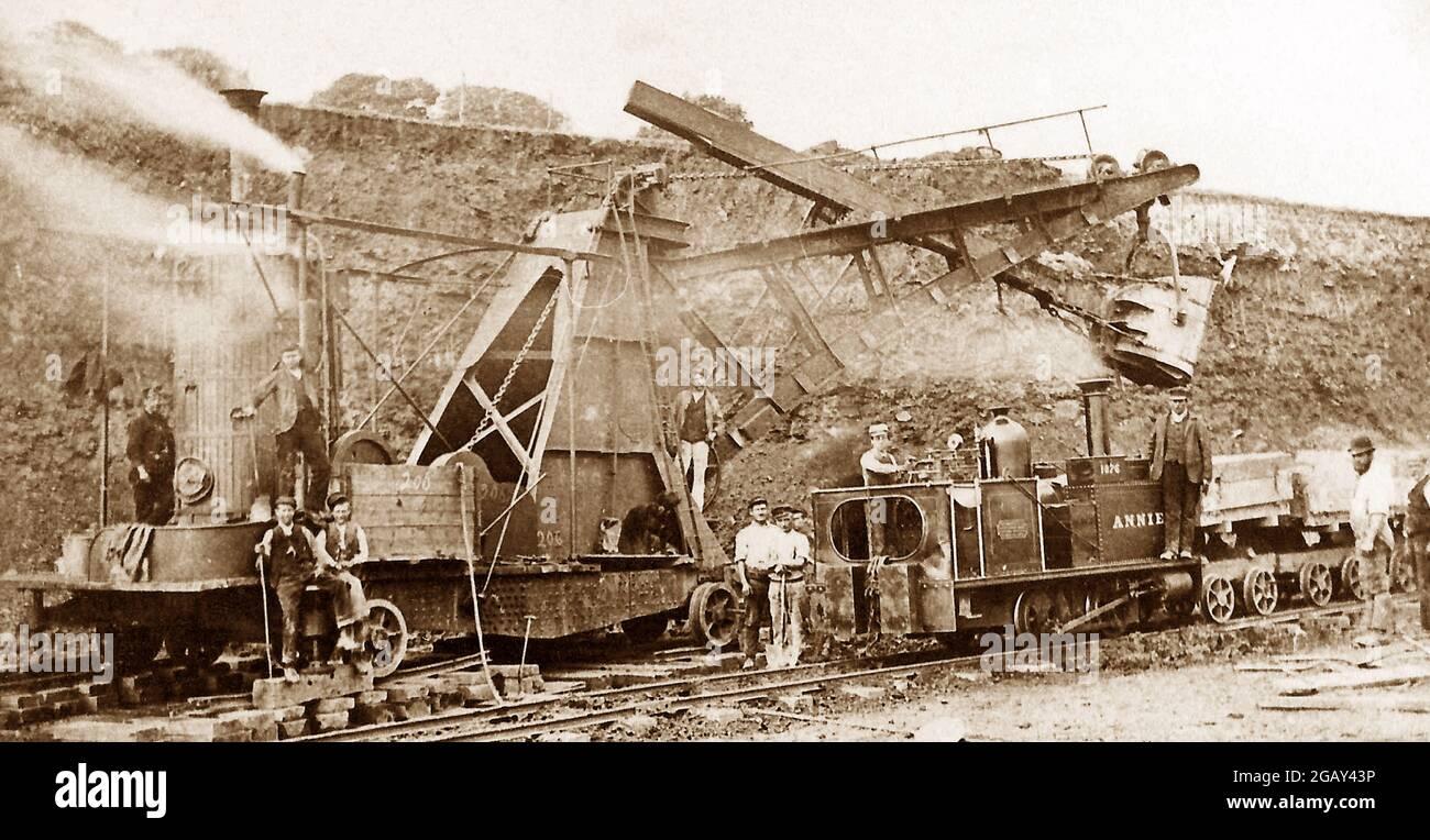 Construction du réservoir de Clough Bottom, Rossendale, dans les années 1890 Banque D'Images