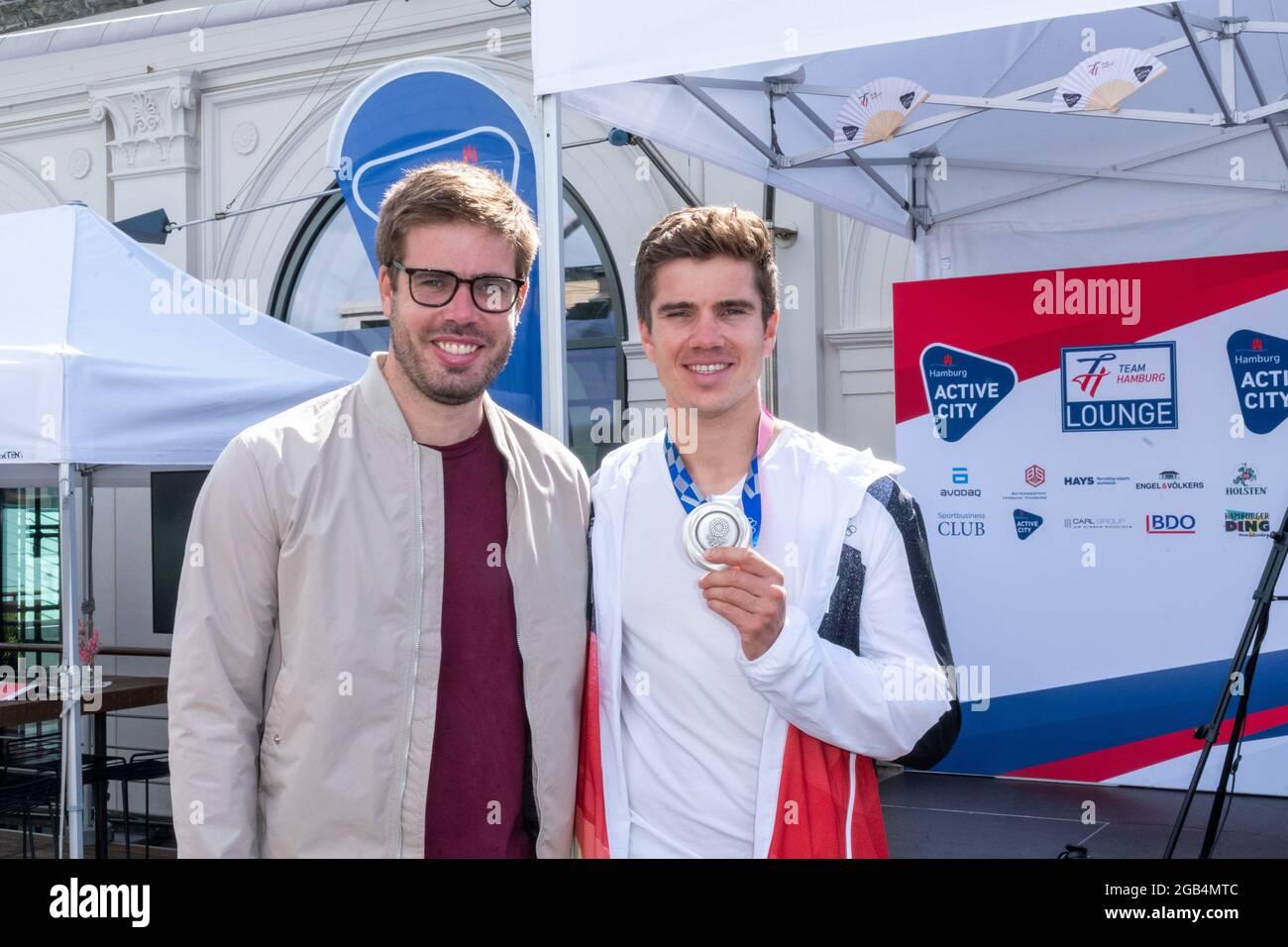 Bruder Eric, 2012 Olympiasieger im Deutschland-Achter, Torben Johannesen, Team Deutschland-Achter Rudern, Silbermedaille, Handeslkammer Hamburg, Acolp Banque D'Images
